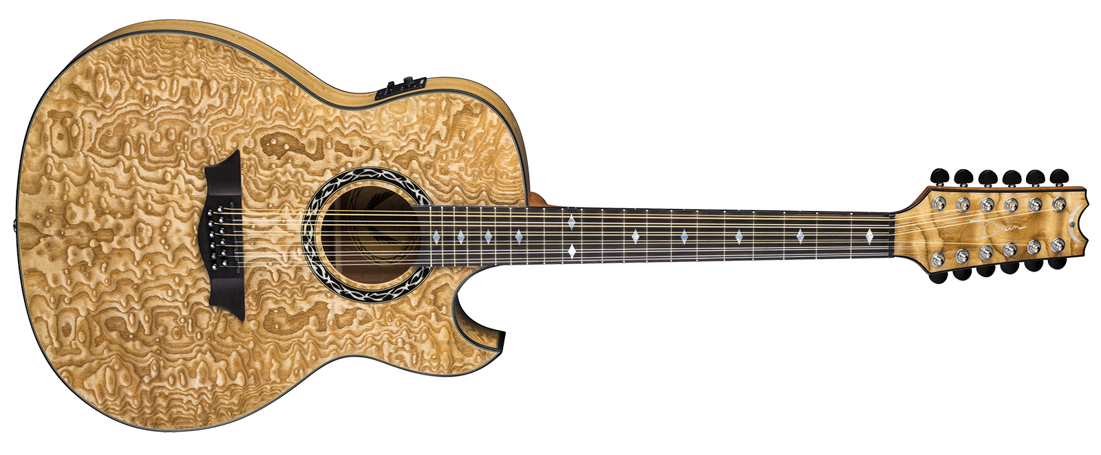 Exhibition Quilt Ash A/E 12 String GN